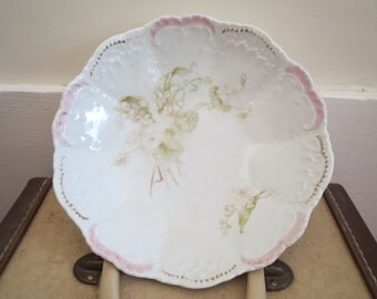 Antique Vintage Weimar Germany porcelain bowl dish shabby chic worn French cottage