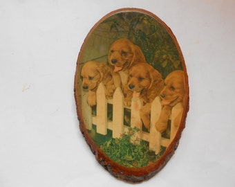Puppies Picture on Wood, Decoupaged, Vintage