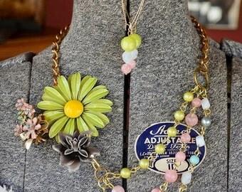 VINTAGE ON SALE Upcycled Statement Necklace: Window Dressing - Vintage Enamel Floral Pins, Reclaimed Bead Strands in Lime, Pink, Blue