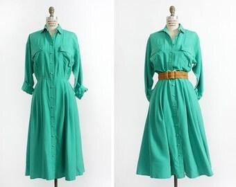 Emerald Dress M • Green Silk Dress • Flowy Dress with Pockets • Silk Duster • Long Sleeve Dress • Pleated Dress • Argenti Dress | D574