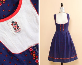 Blue Dirndl Dress S • Austrian Dress • Floral Cotton Dress • Scoop Neck Dress • German Dress • Traditional Dress • Spring Dress  | D796