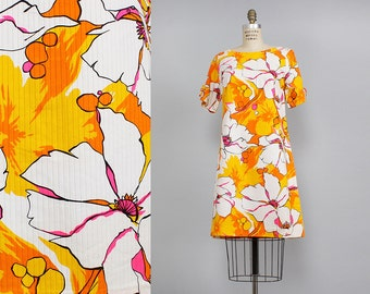 Shift Dress M • Hawaiian Dress • 60s Dress • Floral Dress • Summer Cotton Dress • Boat Neck Dress • Summer Dress • Orange Dress | D793