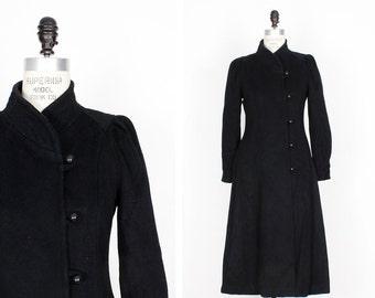 80s does 40s Wool Princess Coat S • Black Wool Winter Coat • Military Style Black Long Coat | O190