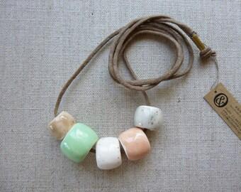 5 Glazed Bead Necklace SALE