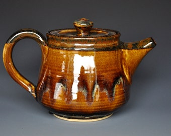 Golden Umber Teapot Ceramic Teapot Pottery Stoneware Tea pot A