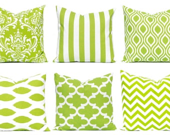 Green Pillow Covers - Green and White - Chartreuse Green Cushion Covers - Green Stripe Pillow Cover - Sofa Pillow Cover - Green Pillow Sham