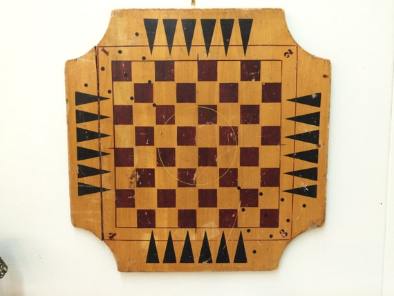Antique Primitive Wooden Checkerboard Archarena Combination
