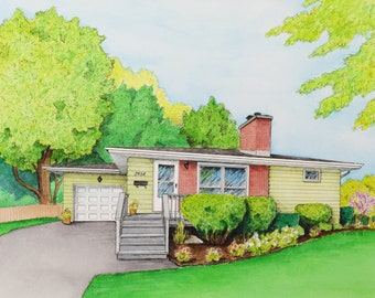 11x14 Custom Home Portrait - Ink Drawing and Watercolor