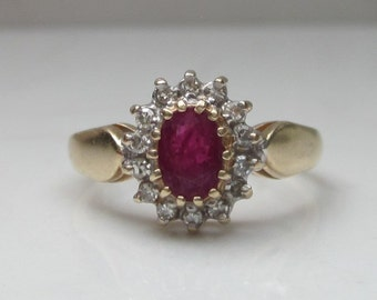 Vintage 14k Solid Gold Ruby and Diamond Halo Ring, Size 6 - .75 Carat Total Gem Weight