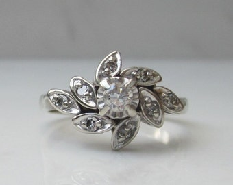 Midcentury Diamond Cluster Halo Ring in 14k Solid White Gold, Size 6