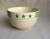 Vintage u s a pottery bowl  green stars abd stripes bowl  ironstone bowl