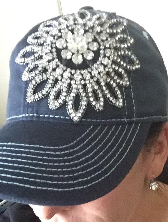 ad1645394790c0 Womens baseball hat, navy blue, Rhinestone baseball cap, distressed baseball  hat, bling