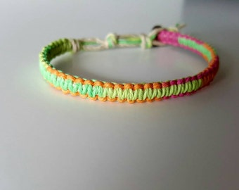Neon Rave Multi-color Hemp Bracelet, Dance, Party, Bright, Hemp Anklet, Indie Hemp Works, Hemp Jewelry, Aromatherapy, Natural, Bug Repellent