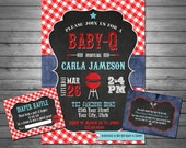 SALE Baby-Q Baby Shower Invitation, Printable File, BBQ Baby Shower, Free Inserts, Red Gingham, Chalkboard Invitation, Barbeque - Baby Showe