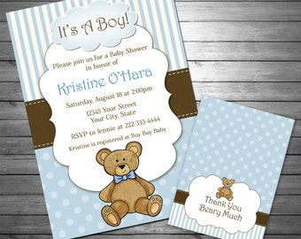 Boy Teddy Bear Baby Shower Invitation, Teddy Bear Thank You Card INCLUDED, Printable File, Blue, Teddy Bear, Stripes, Baby Boy, Blue & Brown