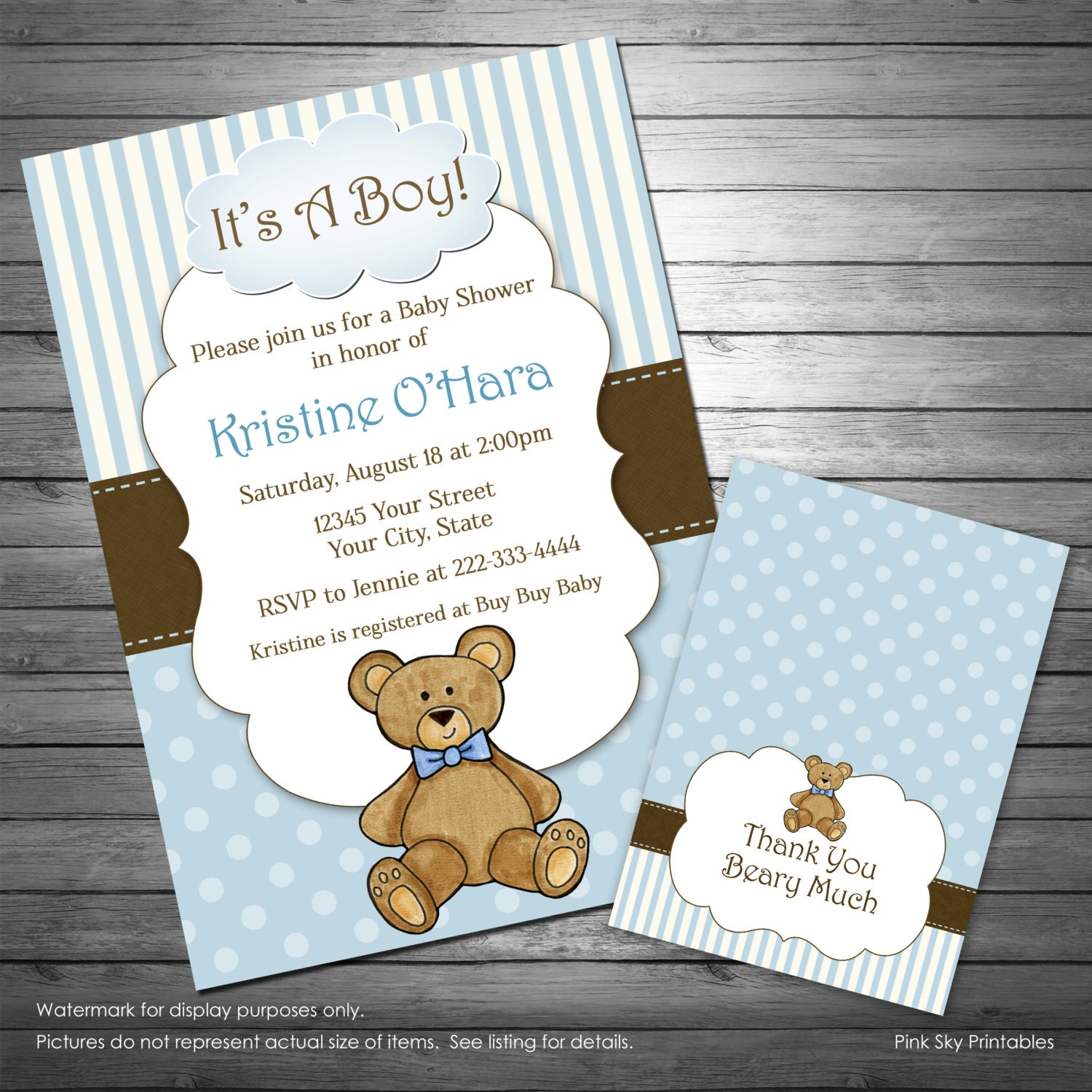 Boy Teddy Bear Baby Shower Invitation Teddy Bear Thank You