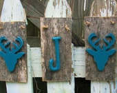 Set of 3 Rustic Christmas Decor Distressed Blue Deer & Inital of Your Choice on Barnwood Plaques w/ Jute Hangers