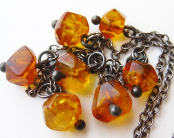 Vintage Sterling Silver Baltic Honey Amber Bead Chain Necklace