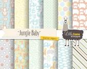 Baby Digital Scrapbook Paper, Jungle Animals Paper Pack, Jungle Nursery, Safari Nursery, Pastel Giraffe Rhino Monkey Elephant