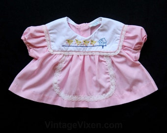 Pink Baby Dress - Darling Pink Frock with Chickadees Embroidery - Little Ducks - Ducklings - Size Newborn Infant - Puff Sleeves - 30093