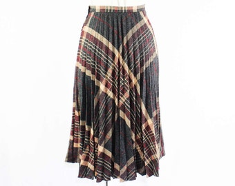 Size 4 Pleated Skirt - Rustic Chic 1970s Charcoal Gray & Taupe Plaid Skirt - Small - Fall - Autumn - Accordion Pleats - Waist 25 - 45823
