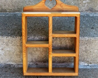 wooden wall shelf pine wall cubbie shadow box 80s country miniature display piece wall cubbie heart cutout
