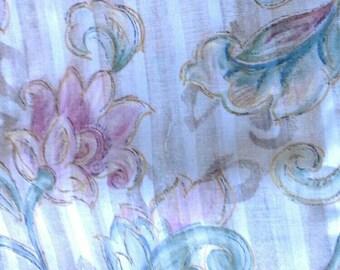 Floral Striped Decorator Fabric 2 1/3 Yards X0456