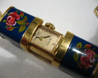 Vintage Pendant Watch with Hand-Painted Rose Motif