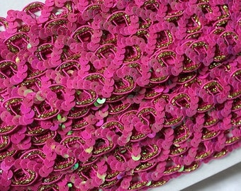 Fuchsia sequined soutage ribbon trim 8,75 yards