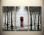 large original painting,wall art,home decor,red umbrella,walk in rain,love couple,black white red,45x30inch stretched canvas,MADE TO ORDER