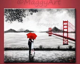 original painting,San Francisco lover, kissing in rain, black white red,golden gate bridge,24x18 inch,on stretched canvas,great wedding gift