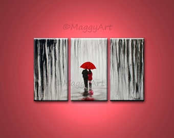 large abstract painting,original wall art,winter rain,walk in rain,love couple,black white red,54x36inch stretched canvas,MADE TO ORDER