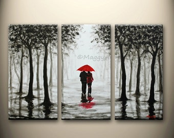 large original painting,wall art,home decor,red umbrella,walk in rain,love couple,black white red,54x36inch stretched canvas,MADE TO ORDER
