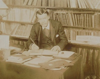 French Cabinet Card Photo - Man Sat in a Study Writing