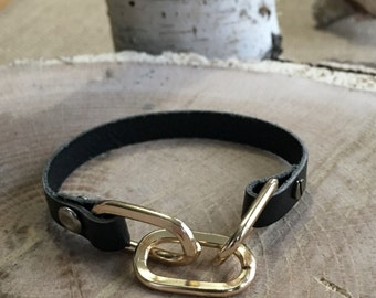 Black leather bracelet with aluminum chain