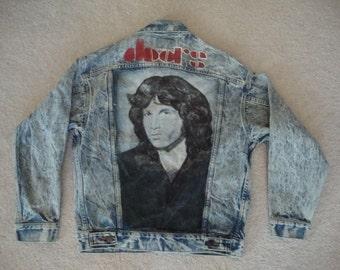 Vintage 80's The DOORS Jim Morrison Hand Painted Levis Denim acid washed 80's Jean Jacket S