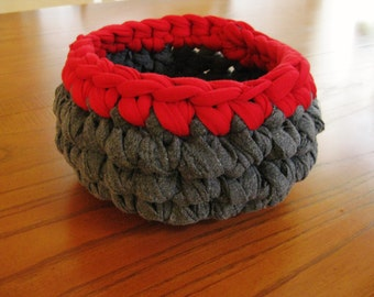 Crochet Rag Bowl-Crochet Rag Basket-Rag Bowl-Repurposed-Gray and Red Rag Bowl-Crochet Bowl - Crochet Rag Bowl - Crochet Basket-Red and Gray