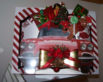 Christmas Corvette 3D Greeting Card - Holiday Gifts on Top - Crafted by Hand - sheshefoofoocards