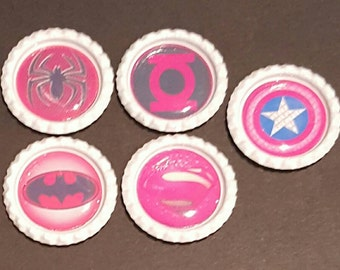 5 x Pink Super Hero Inspired Flattened White Bottle Caps