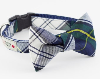Navy Tartan Dog Bowtie Collar