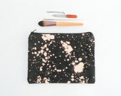 Bleach Dye Black Canvas Makeup Bag - Zipper Pouch - Bleach Dye - Back to School Supplies