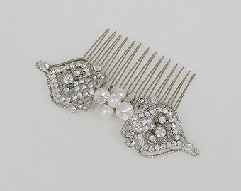 Bridal Crystal Comb, Swarovski Pearls, Wedding Jewelry, Silver Hair Comb, Lena - Ships in 3-5 Business Days