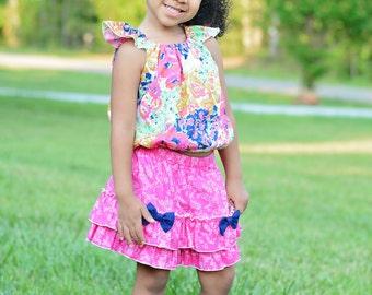 Girls Flutter Peasant Top and Ruffled Shorts Set  Hot Pink Navy Toddler Infant Girls