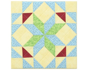 Quadrille No 9 Decorative patchwork block Colorful modern wall hanging artwork Yellow Blue Green Red