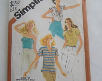 Simplicity 5509, One-Yard Tops, Size 8, Bust 31 1/2, Uncut, 1982