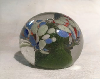 "Floral  Glass Paperweight w/ Air Bubbles - [Size- 2 1/2"" x 2"", Color- White, Blue, Orange, Green, Red Vintage]"