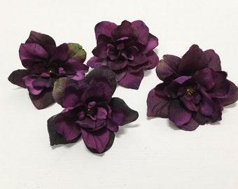 Silk Flowers - Four Delphinium Blossoms in Deep Eggplant Purple - 3 Inch Size - Artificial Flowers