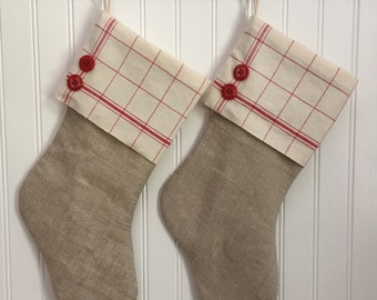 Christmas Stocking Vintage Linen with Red Windowpane Cuff and Buttons