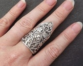 Silver Ethnic Floral Boho Finger Cuff Statement Ring - Authentic Turkish Style