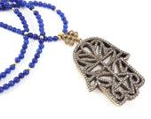Hamsa Hand of Fatima Rhinestone Necklace Royal Blue Jade Stone Gemstone Statement Gypsy Hippie Bohemian Artisan - One Of A Kind